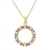 Amethyst & Diamond Silver GP Necklace
