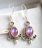 Pink Moonstone Silver Earrings