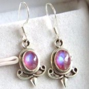 Pink Moonstone Silver Earrings