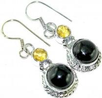 Black Onyx & Citrine Silver Earrings