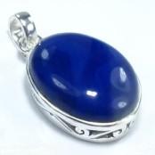 Blue Botswana Agate Silver Pendant