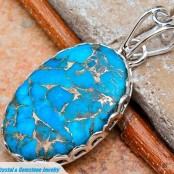 Copper Blue Turquoise Silver Pendant