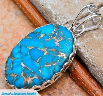 Copper Blue Turquoise Silver Pendant