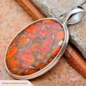 Copper Orange Turquoise Silver Pendant
