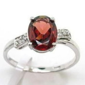 Garnet & CZ White Gold Plated Silver Ring
