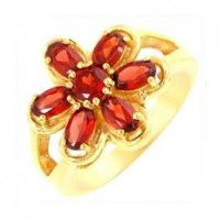 Garnet Silver Ring Gold Plated