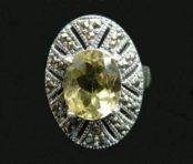 Lemon Topaz & Marcasite Silver Ring