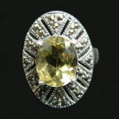 Lemon Topaz & Marcasite Silver Ring