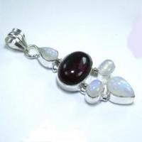 Garnet & Moonstone Silver Pendant
