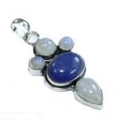 Sapphire & Moonstone Silver Pendant