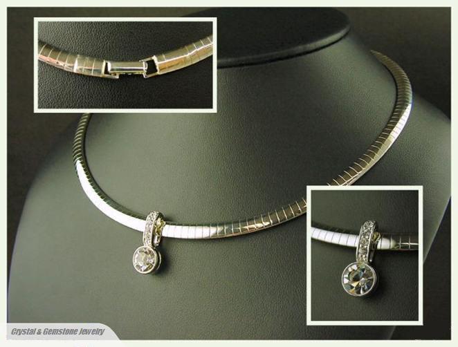 Elegant silver plated omega necklace crystal gemstone silver jewelry elegant silver plated omega necklace aloadofball Images