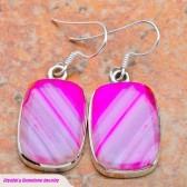 Pink Botswana Agate Silver Earrings