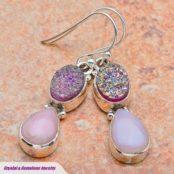 Pink Opal & Titanum Druzy Silver Earrings