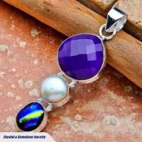 Purple Botswana Agate & Pearl Silver Pendant
