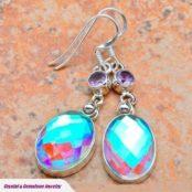 Rainbow Mystic Topaz & Amethyst Silver Earrings