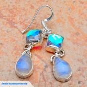 Rainbow Mystic Topaz & Rainbow Moonstone Silver Earrings