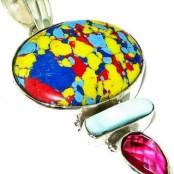 Mosaic Jasper, Pearl & Ruby Quartz Silver Pendant