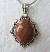 Goldstone Silver Pendant