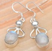 Rainbow Moonstone & Pearl Silver Earrings