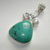 Turquoise & Pearl Silver Pendant