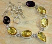 Golden Rutilated Quartz & Amethyst Silver Necklace