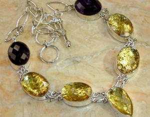 Rutilated Quartz & Amethyst Silver Necklace