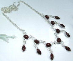 Red Agate Silver Necklace