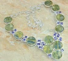 Rare Kyanite & Amethyst Silver Necklace