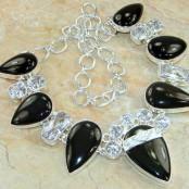 Black Onyx & White Topaz Silver Necklace