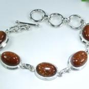 Goldstone Silver Bracelet
