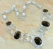 Smoky Quartz Silver Necklace