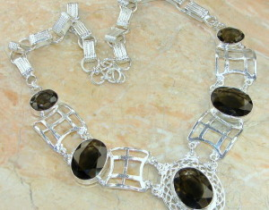 Smoky Topaz Gemstone Silver Necklace