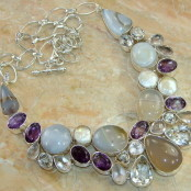Agate, Amethyst, Rose Quartz, Topaz & Pearl Silver Necklace
