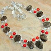 Tourmalinated Quartz & Coral Silver Necklace