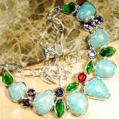 Amazonite, Amethyst & Green Quartz Silver Necklace