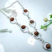 Goldstone Silver Necklace