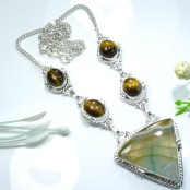 Agate & Tiger Eye Silver Necklace