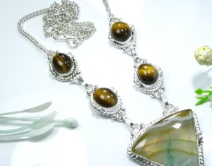 Agate & Tiger Eye Gemstone Silver Necklace
