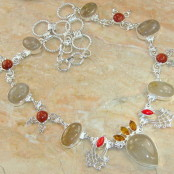 Rutilated Quartz, Goldstone, Citrine & Coral Silver Necklace