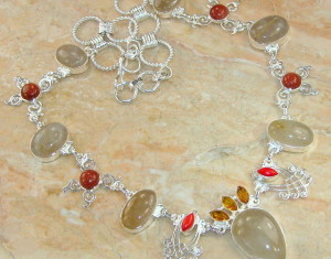 Rutilated Quartz, Goldstone, Citrine & Coral Silver Necklace