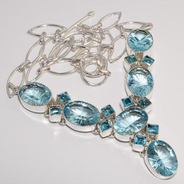 Blue Mystic Topaz & Swiss Blue Topaz Silver Necklace