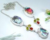 Fire Mystic Topaz & Citrine Silver Necklace