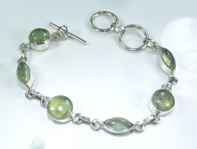 prehnite silver bracelet gemstone silver jewelry