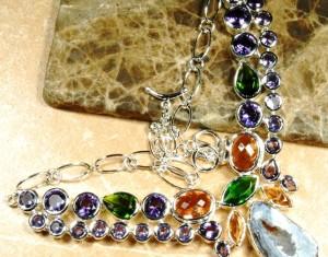 Agate Druzy, Amethyst & Topaz Silver Necklace