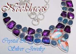Crystal & Gemstone Silver Jewelry - Necklaces - Designer Silver Jewelry