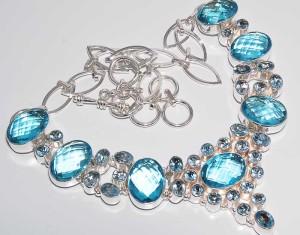 Swiss Blue Topaz Silver Necklace