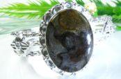 Turritella Agate Silver Cuff Bracelet